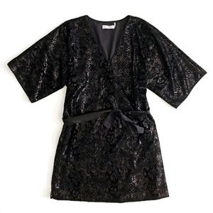 Natori Black Sequin Snake Design V-Neck Dress